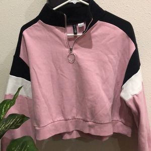 H&M Divided zip crop sweatshirt size L